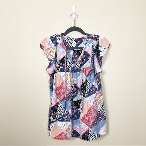 Gap colorful patchwork blouse with ruffle sleeve